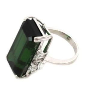 H.Stern 17ct Tourmaline & Diamond 18k White Gold Rectangle Ring Size - 6