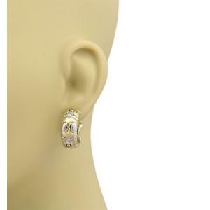Bulgari Bvlgari Parentesi 18k Yellow Gold & Steel Hoop Earrings