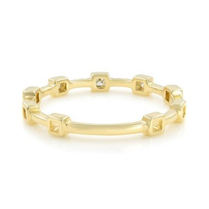 Rachel Koen14K Yellow Gold Diamond Bezel &  Pave Set Band Ring 0.12cttw Size 7