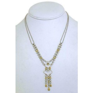 Stunning 2.50ct Fancy Yellow & White Diamonds Double Strand Open Heart Necklace