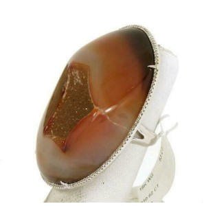 New Diamonds Large Agate Geode 18k White Gold Ladies Ring Size 6.25