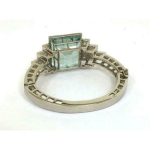 Estate 62ct Aquamarine & Diamonds Platinum Hinged Fancy Bangle Bracelet