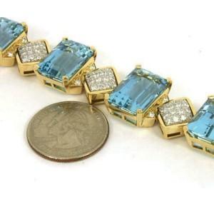 Estate 82.30ct Aquamarine & Diamonds 18k Yellow Gold Fancy Bracelet