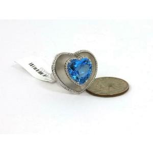 Gorgeous 9.55ct Diamonds & Blue Topaz 18k White Gold Heart Ring