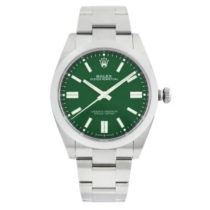 Rolex Oyster Perpetual 41mm Steel Green Dial Automatic Smooth Mens Watch 124300