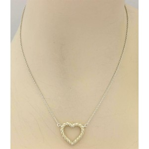 Tiffany & Co. Sterling 18k Yellow Gold Rope Heart Pendant & Chain Necklace