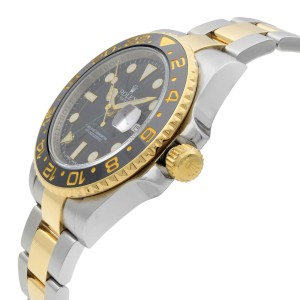 Rolex GMT-Master II 18K Gold Steel Black Dial Automatic Mens Watch 116713LN