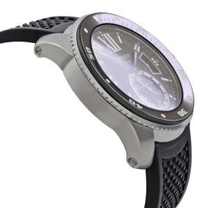 Cartier De Calibre Steel Rubber Black Roman Dial Automatic Mens Watch W7100056