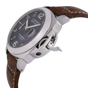 Panerai Luminor Marina Steel Leather Black Dial Automatic Mens Watch PAM00164