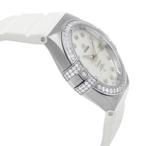Omega Constellation 18k White Gold Diamond MOP Dial Watch 123.57.35.20.55.005