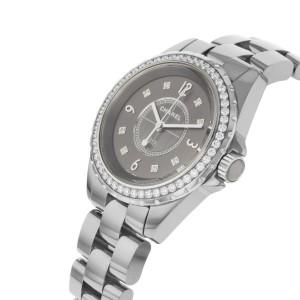 Chanel Titanium Ceramic Gray Diamond Dial Quartz Ladies Watch J12 H2565