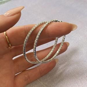 Rachel Koen 18K White Gold Pave Diamond Medium Hoop Earrings 4.60cttw