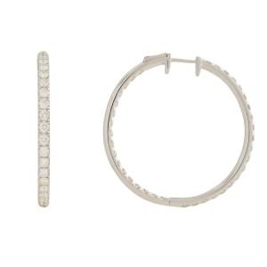 Rachel Koen 18K White Gold Pave Diamond Small Hoop Earrings 3.50cttw