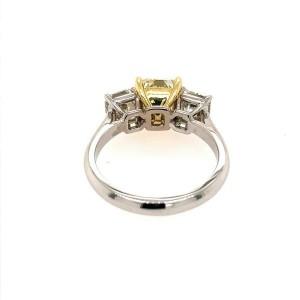 18K White and Yellow Gold Yellow Diamond Three-Stone Ring 4.20cttw Size 7