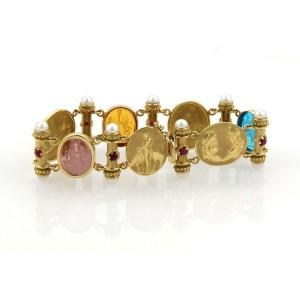 Estate 18k Yellow Gold Multicolor Gems Pearls Intaglia Fancy Bracelet