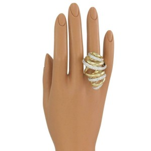 Estate 4ct Diamond 18k Gold Long Fancy Large Spiral Ring Size 7