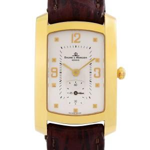 Baume et Mercier Hampton Milleis 18K Gold Silver Dial Quartz Mens Watch MVO45224