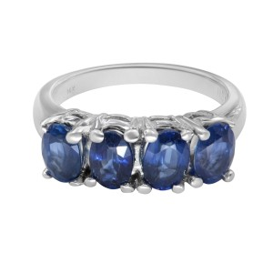 14K White Gold 4 Blue Natural Oval Shape Sapphires Ring 2.40cttw Size 6.5