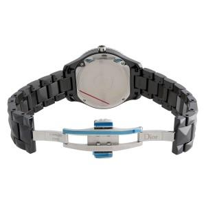 Dior VIII Christal Diamond Ceramic Black Dial Quartz Ladies Watch CD1241E0C001