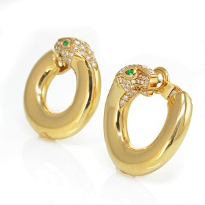 Cartier 18K Yellow Gold Panthere Diamonds and Green Emerald Hoop Earrings