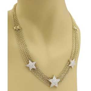 57895 Estate 3 Carats 18k Two Tone Gold Multi-Chain Star Necklace