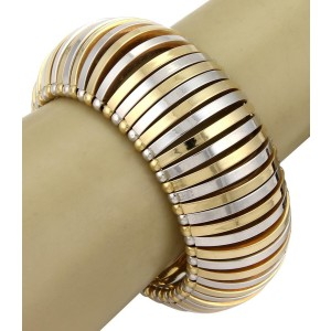Brevettato 18k Yellow White Gold 34mm Wide Fancy Open Dome Bracelet Bangle