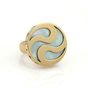 Bulgari Bvlgari Mother Of Pearl Spinning Optical 18k YGold & Steel Ring