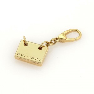 Bulgari Bvlgari Vintage 18k Yellow Gold Flashcard Collectible Charm Pendant