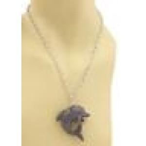18k Two Tone Gold 5.05ct Black Diamond & Ruby Dolphin Pendant & Chain