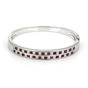 59648 Estate 5 Carats Princess Cut Diamond & Ruby 18k Gold 8.5mm Bangle Bracelet