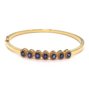 22k Yellow Gold 3 Carat Sapphire Gems Bangle Bracelet