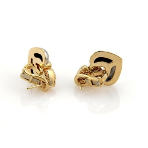 Bvlgari Bulgari 18k Yellow Gold & SSteel Double Hearts Post Clip Drop Earrings