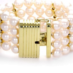 18k Yellow Gold 1 Carat Diamond 4 Strand 7mm Pearl Bracelet