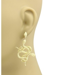 18k Yellow Gold Double Coiled Snakes Textured Drop Dangle Earrings