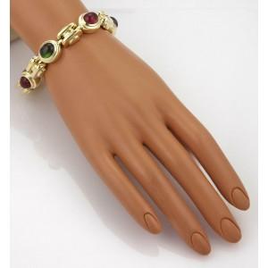 "50 Carats Multicolor Gemstones 18k Yellow Gold Fancy Link Bracelet 9"" Long 77g"