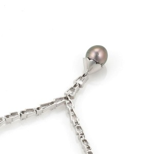 18k White Gold 4ct Diamond Tahitian Pearl Fancy Dangle Pendant Necklace