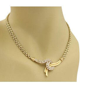 14k Yellow Gold 1.50ct Diamond Fancy Pendant Panther Link Necklace