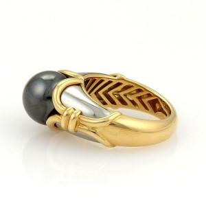 Bulgari Bvlgari 18k Yellow Gold & Stainless Steel Hematite Ring Size 5.5