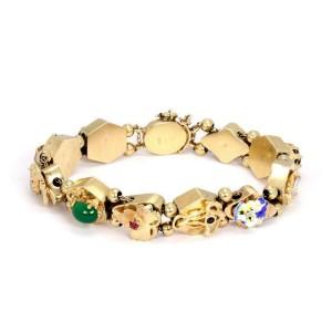 14k Yellow Gold Diamond & Gems Enamel 11 Assorted Charms Slide Bracelet