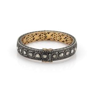5.50ct Champagne Diamond 14k Gold & Silver Fancy Filigree Bangle