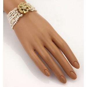 Art Nouveau Diamond Multi-Strand Pearls & Enamel Floral Clasp Bracelet
