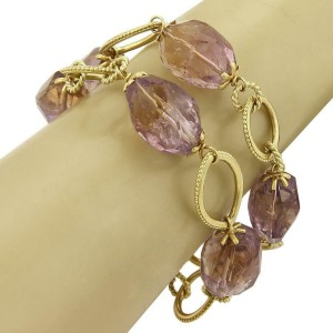 """Amethyst Faceted Oval Bead 18k Yellow Gold Detachable Links Necklace 33""""L 170grm"""