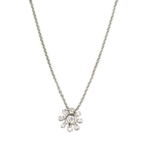 Tiffany & Co. Diamond Platinum Gold Daisy Flower Pendant & Chain