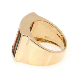 18k Yellow Gold Multi color Tourmalines 15.5mm Wide Band Ring Size - 6.75