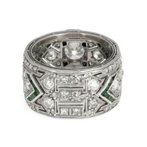 Art Deco Platinum 3.35ct European Old Mine Cut Diamond Emerald Wide Band
