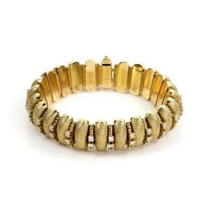 61053 Estate 3.5ct Diamond 18k Yellow Gold Textured Curved Bar Link Bracelet