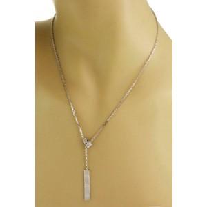 Cartier Love 18k White Gold Long Bar Pendant Lariat Necklace w/Cert