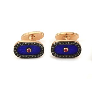 Vintage Russion Rose Cut Diamond Ruby Enamel 14k Rose Gold Oval Cufflinks