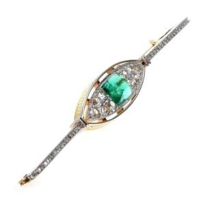 Art Deco 4.80ct Old Mine Cut Diamond Emerald Platinum 18k Gold Long Brooch
