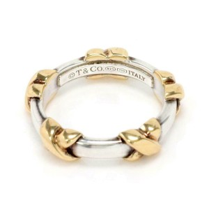 Tiffany & Co. Sterling Sterling 18k Yellow Gold X Band Ring Size - 5
